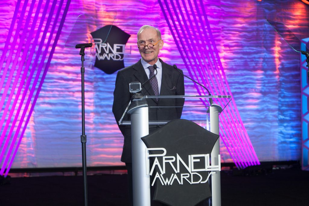 Jonathan Smeeton accepts The Parnelli Visionary Award